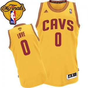 Maillot NBA Cleveland Cavaliers #0 Kevin Love Or Adidas Authentic Alternate 2015 The Finals Patch - Enfants