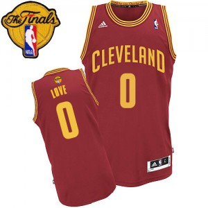 Maillot NBA Vin Rouge Kevin Love #0 Cleveland Cavaliers Road 2015 The Finals Patch Swingman Homme Adidas