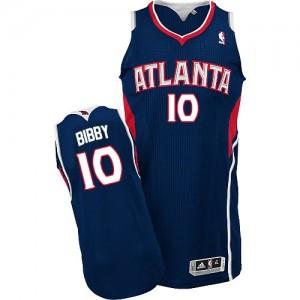 Maillot NBA Atlanta Hawks #10 Mike Bibby Bleu marin Adidas Authentic Road - Homme