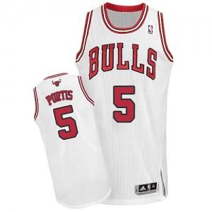 Chicago Bulls #5 Adidas Home Blanc Authentic Maillot d'équipe de NBA vente en ligne - Bobby Portis pour Homme