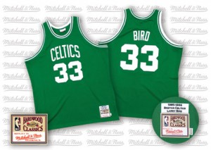 Maillot NBA Boston Celtics #33 Larry Bird Vert Mitchell and Ness Authentic Throwback - Homme