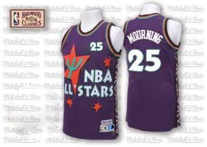Charlotte Hornets Alonzo Mourning #25 Throwback 1995 All Star Authentic Maillot d'équipe de NBA - Violet pour Homme