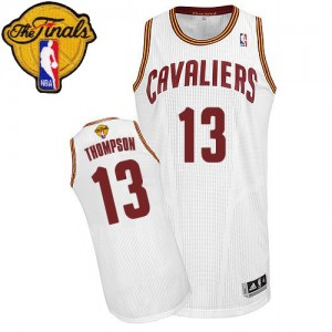 Maillot NBA Cleveland Cavaliers #13 Tristan Thompson Blanc Adidas Authentic Home 2015 The Finals Patch - Homme