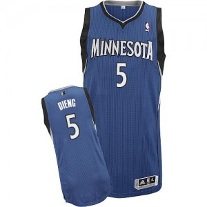 Maillot NBA Slate Blue Gorgui Dieng #5 Minnesota Timberwolves Road Authentic Homme Adidas