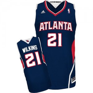 Maillot NBA Atlanta Hawks #21 Dominique Wilkins Bleu marin Adidas Swingman Road - Homme