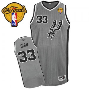 San Antonio Spurs Boris Diaw #33 Alternate Finals Patch Authentic Maillot d'équipe de NBA - Gris argenté pour Homme