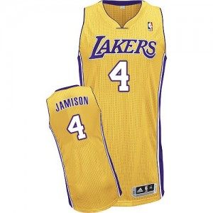 Los Angeles Lakers Byron Scott #4 Home Authentic Maillot d'équipe de NBA - Or pour Homme