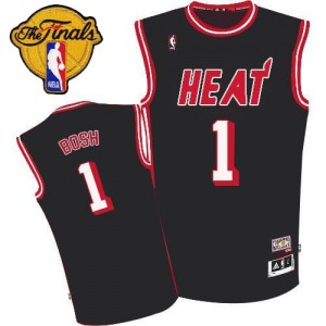 Maillot NBA Miami Heat #1 Chris Bosh Noir Adidas Authentic Hardwood Classic Finals Patch - Homme