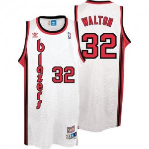 Maillot NBA Authentic Bill Walton #32 Portland Trail Blazers Throwback Blanc - Homme