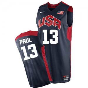 Team USA Nike Chris Paul #13 2012 Olympics Authentic Maillot d'équipe de NBA - Bleu marin pour Homme