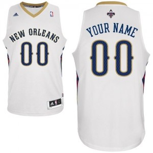 Maillot NBA Blanc Swingman Personnalisé New Orleans Pelicans Home Homme Adidas