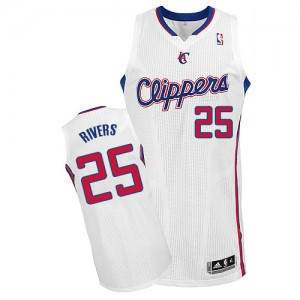 Maillot NBA Los Angeles Clippers #25 Austin Rivers Blanc Adidas Authentic Home - Homme