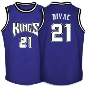 Maillot NBA Sacramento Kings #21 Vlade Divac Violet Adidas Swingman Throwback - Homme