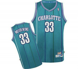 Maillot NBA Authentic Alonzo Mourning #33 Charlotte Hornets Throwback Bleu clair - Homme