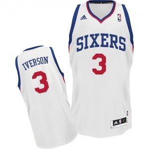 Maillot Adidas Blanc Home Swingman Philadelphia 76ers - Allen Iverson #3 - Homme