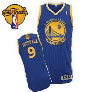 Maillot NBA Authentic Andre Iguodala #9 Golden State Warriors Road 2015 The Finals Patch Bleu royal - Homme