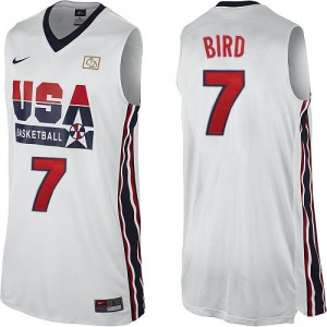 Maillot NBA Team USA #7 Larry Bird Blanc Nike Authentic 2012 Olympic Retro - Homme