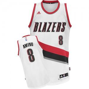 Maillot NBA Portland Trail Blazers #8 Al-Farouq Aminu Blanc Adidas Swingman Home - Homme