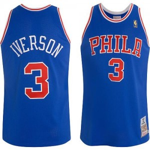 Maillot Authentic Philadelphia 76ers NBA Throwback Bleu - #3 Allen Iverson - Homme
