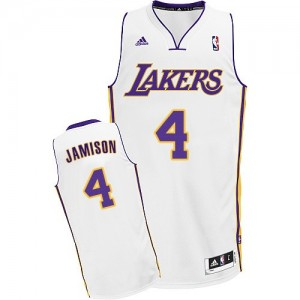 Maillot NBA Los Angeles Lakers #4 Byron Scott Blanc Adidas Swingman Alternate - Homme