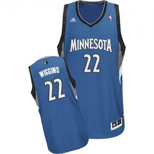 Maillot NBA Slate Blue Andrew Wiggins #22 Minnesota Timberwolves Road Swingman Homme Adidas