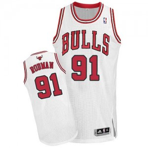 Chicago Bulls Dennis Rodman #91 Home Authentic Maillot d'équipe de NBA - Blanc pour Homme