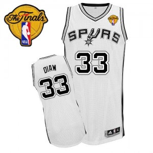 San Antonio Spurs Boris Diaw #33 Home Finals Patch Authentic Maillot d'équipe de NBA - Blanc pour Homme