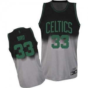 Boston Celtics Larry Bird #33 Fadeaway Fashion Authentic Maillot d'équipe de NBA - Gris noir pour Homme