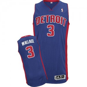 Detroit Pistons Ben Wallace #3 Road Authentic Maillot d'équipe de NBA - Bleu royal pour Homme