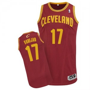 Maillot NBA Cleveland Cavaliers #17 Anderson Varejao Vin Rouge Adidas Authentic Road - Homme