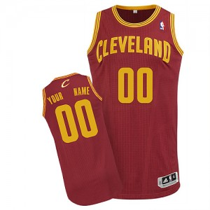 Maillot NBA Authentic Personnalisé Cleveland Cavaliers Road Vin Rouge - Enfants