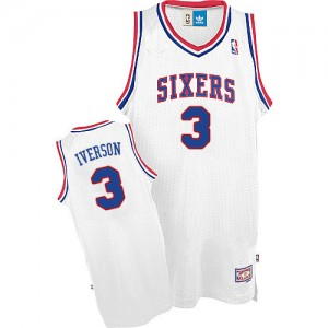 Maillot NBA Blanc Allen Iverson #3 Philadelphia 76ers Throwack Authentic Homme Adidas