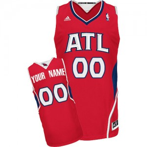 Maillot Adidas Rouge Alternate Atlanta Hawks - Swingman Personnalisé - Homme