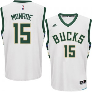 Maillot NBA Blanc Greg Monroe #15 Milwaukee Bucks Home Authentic Homme Adidas