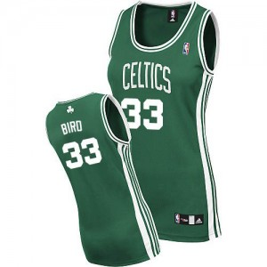 Maillot Authentic Boston Celtics NBA Road Vert (No Blanc) - #33 Larry Bird - Femme