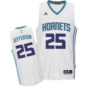 Maillot NBA Blanc Al Jefferson #25 Charlotte Hornets Home Swingman Homme Adidas