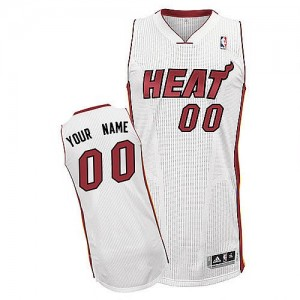 Maillot NBA Miami Heat Personnalisé Authentic Blanc Adidas Home - Homme