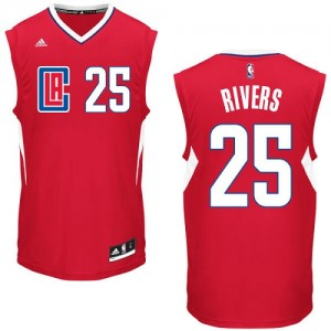Maillot NBA Rouge Austin Rivers #25 Los Angeles Clippers Road Authentic Homme Adidas