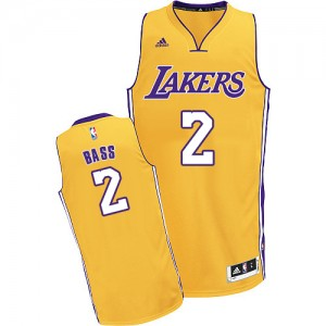 Los Angeles Lakers Brandon Bass #2 Home Swingman Maillot d'équipe de NBA - Or pour Homme