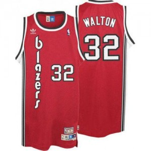 Maillot NBA Portland Trail Blazers #32 Bill Walton Rouge Adidas Swingman Throwback - Homme