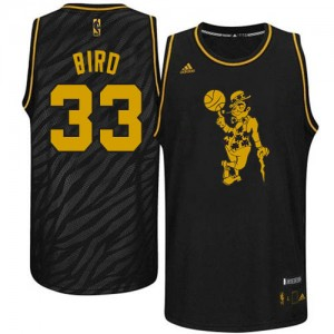 Maillot NBA Noir Larry Bird #33 Boston Celtics Precious Metals Fashion Swingman Homme Adidas