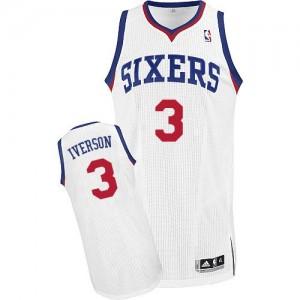 Maillot NBA Philadelphia 76ers #3 Allen Iverson Blanc Adidas Authentic Home - Homme