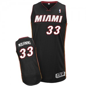 Maillot NBA Noir Alonzo Mourning #33 Miami Heat Road Authentic Homme Adidas