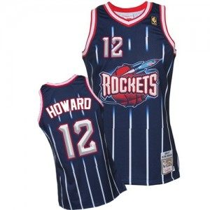 Maillot NBA Houston Rockets #12 Dwight Howard Bleu marin Mitchell and Ness Authentic Hardwood Classic Fashion - Homme