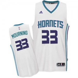 Maillot NBA Blanc Alonzo Mourning #33 Charlotte Hornets Home Authentic Homme Adidas
