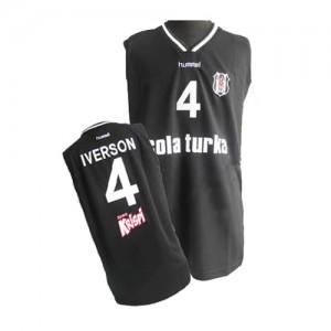 Maillot NBA Philadelphia 76ers #4 Allen Iverson Noir Adidas Authentic - Homme