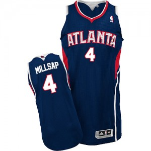 Maillot NBA Bleu marin Paul Millsap #4 Atlanta Hawks Road Authentic Homme Adidas