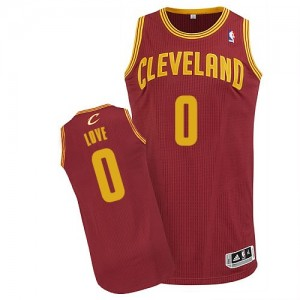 Maillot NBA Vin Rouge Kevin Love #0 Cleveland Cavaliers Road Authentic Enfants Adidas