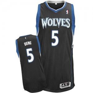 Maillot NBA Noir Gorgui Dieng #5 Minnesota Timberwolves Alternate Authentic Homme Adidas