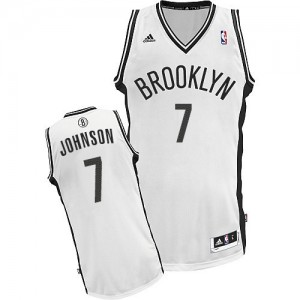 Maillot NBA Blanc Joe Johnson #7 Brooklyn Nets Home Swingman Homme Adidas